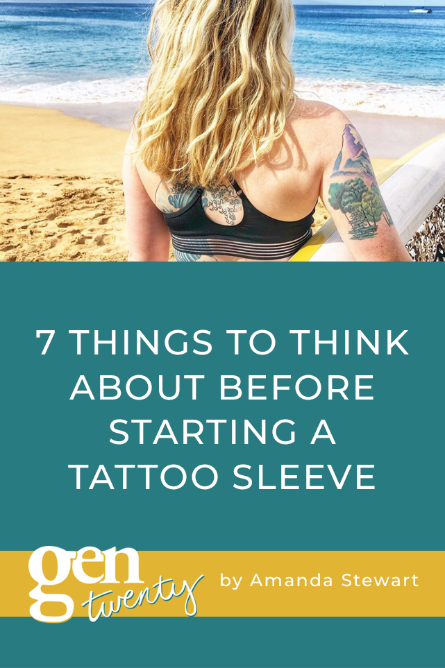 7 Things To Think About Before Starting a Tattoo Sleeve (girl holding surfboard with tattoo sleeve)